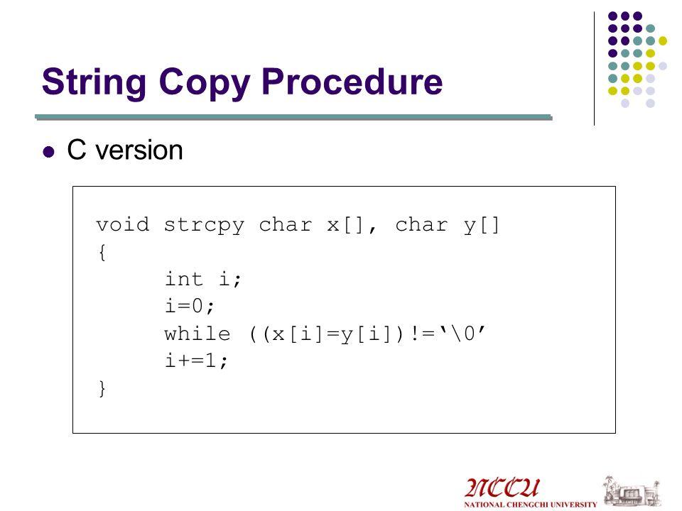 String Copy Procedure C version void strcpy char x[], char y[] {